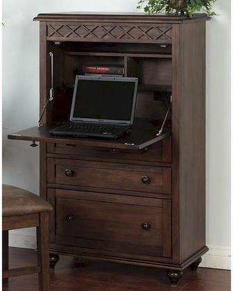 "Savannah Collection 2849ac 32"" Laptop Armoire With Drop Leaf Desk Top Laptop Storage Space And Cd Storage Shelf In Antique Charcoal"