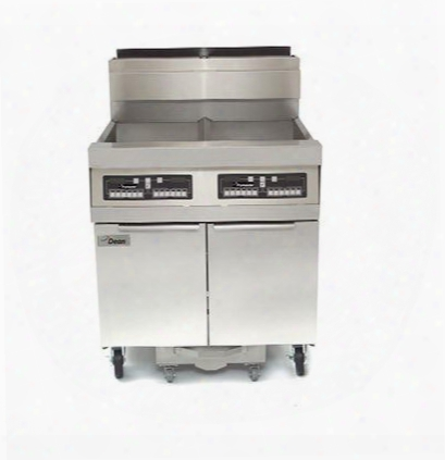 "Scfd380glp 66"" Decathlon Commercial Gas Fryer Battery With Built-in Filtration 100lb Oil Capacity 165 000 Btu Thermatron Controller And Wide Cold Zone In"