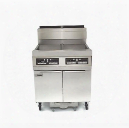 """Scfd450glp 62"""" Decathlon Commercial Gas Fryer Battery With Built-in Filtration 50lb Oil Capacity 120 000 Btu Thermatron Controller And Wide Cold Zone In"""