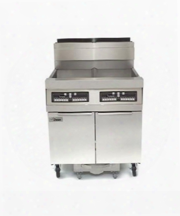 """Scfd480glp 88"""" Decathlon Commercial Gas Fryer Battery With Built In Filtration 100lb Oil Capacity 165 000 Btu Thermatron Controller And Wide Cold Zone In"""