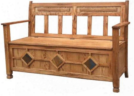 "Sedona Collection 2284ro-3 51"" Storage Bench With Storage Under The Seat And Raised & Carved Detailing In Rustic Oak"
