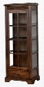 "Savannah Collection 2253AC 28"" Curio Cabinet with Under-Cabinet Lighting 3 Adjustable Glass Shelves and Utility Drawer in Antique Charcoal"