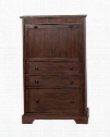 "Savannah Collection 2849AC-S 32"" Laptop Armoire with Natural Slate Drop Down Desk and Power & USB Port in Antique Charcoal"