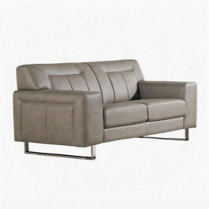 "Vera Veraloss 68"" Loveseat With Metal Legs Chrome Accents Attached Seat/back Cushions And Leatherette Upholstery In Sandstone"