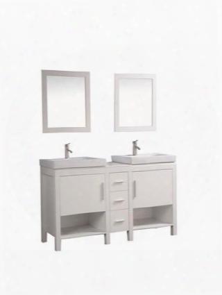 -wa6960w Belarus I 60 Double Sink Bathroom Vanity Set