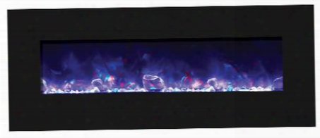 "Wm-bi-fi-48-5823-blkgls 48"" Electric Unit With 4 Stage Internal Back Lighting Led Ember Lights Temperature Maintenance Control Remote Control And Led Light"