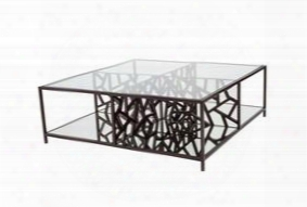21401-015-m-mb 43x42x14 Cracked Ice Cocktail Table In Gilt Medium Bronze