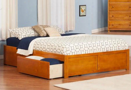 Ar8052117 Concord King Flat Panel Foot Board W/ 2 Urban Bed Drawers Caramel