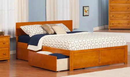 Ar8152117 Orlando King Flat Panel Foot Board W/ 2 Urban Bed Drawers Caramel
