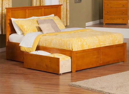 Ar8652117 Madison King Flat Panel Foot Board W/ 2 Urban Bed Drawers Caramel
