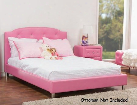 Baxton Studio Bbt6440ns-full-pink Canterbury Platform Bed + Nightstand With Faux Leather