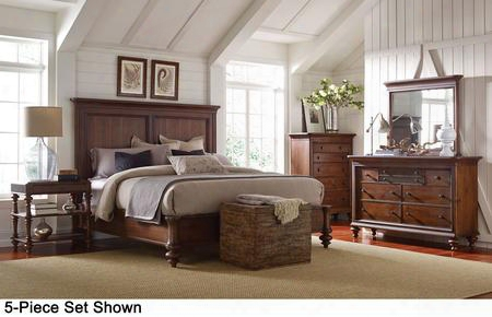 Cascade 4940ckpb2ntcdm 6-piece Bedroom Set With California King Panel Bed 2 Night Tables Chest Dresser And Mirrorr In