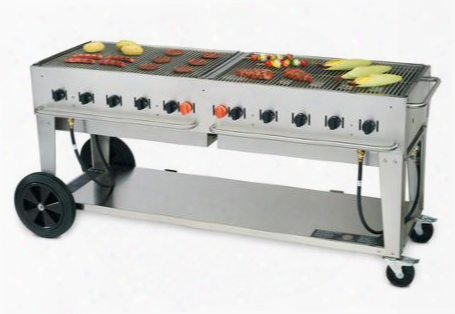 "Cv-mcb-72-ng 81"" Wide Natural Gas Mobile Grill With 159 000 Btu/h 10 Burners 70"" Cooking Surface Two Wheels Two Lock Casters And Storage Shelf In Stainless"