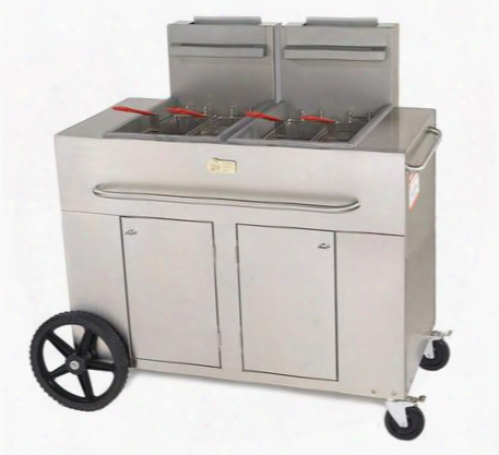 """Cv-pf-2ng 53"""" Double Tank Outdoor Portable Fryer With 180 000 Btu/h 80 Lbs. Capacity Millivolt Thermostat Control Four Fry Baskets And Heat Exchanger Tubes"""