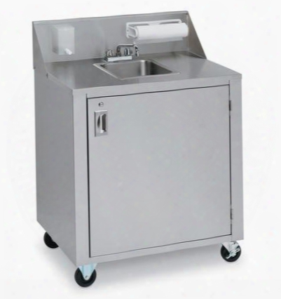 "Cv-phs-1 34.375"" Portable Single Sink Cart With Cold And Hot Water 120 Volts Water Heater Removable Fresh Water Tanks And Backsplash With Soap And Towel"