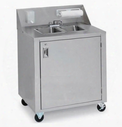 "Cv-phs-2 34.375"" Portable Double Sink Cart With Cold Nd Hot Water 120 Volts Water Heater Removable Fresh Water Tanks And Backsplash With Soap And Towel"