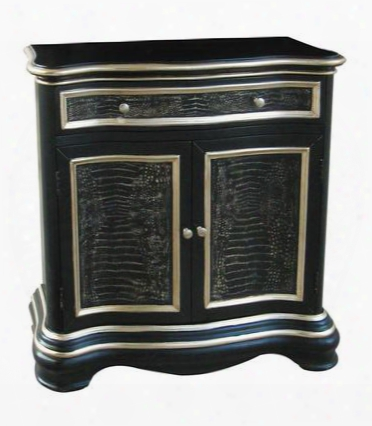 Ds-730016 Hall Chest In Black/silver Wood