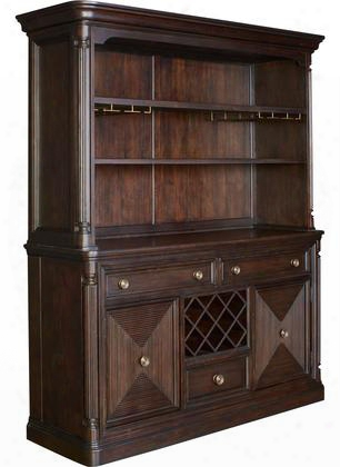 "Jessa 4980-513-514 70.25"" Wide China Cabinet With Server Base And Hutch In Dark Brown"