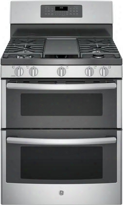 "Jgb860sejss 30"" Freestanding Gas Double Oven Range With Convection 6.8 Cu. Ft. Total Capacity 3 Total Oven Racks Self-clean Steam Clean Option And 5"