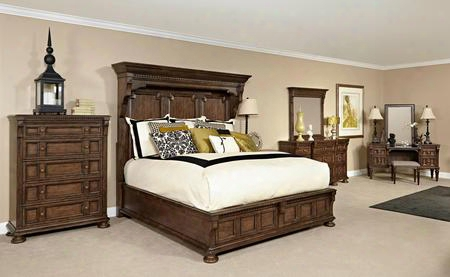Lyla 4912ckmbcdmvs 6-piece Bedroom Set With California King Mansion Bed Chest Dresser Landscape Mirror Vanity And Stool In