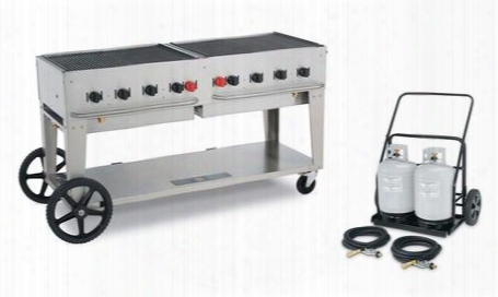 "Mobile Club Cv-mcc-60 69"" Grill With 129 000 But/h 8 Bruners 58"" Cooking Surface And Two 50 Lbs. Vertical Propane Tanks With Remote Cart In Stainless"