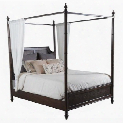 "Passages Collection 14bo7024kcnc 89"" King Canopy Bed Cane With Turned Legs Headboard & Footboard With Cane Centers And Spidnle Posts In Akzo Nobel"