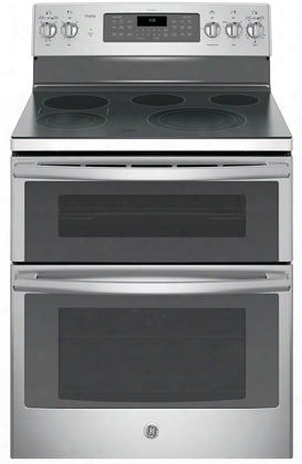 "Pb980sjss 30"" Freestanding Double Oven Electric Range With 5 Cooking Elements 6.6 Cu. Ft. Capacity Bridge Zone Convection Self Clean Fast Preheat And Chef"