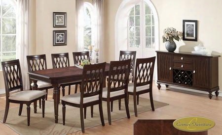 Sophia Soptabser8chr Dining Set Including Dining Table 8 Chairs And Server With Carved Detailing And Turned