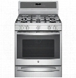 "PGB940ZEJSS 30"" Freestanding Gas Convection Range with 5.6 cu. ft. Capacity WIFI Connect Chef Connect Dual Purpose Center Burner and 20.000BTU Tri-Ring"