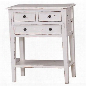 10598 Aries Eton Side Table With 3 Drawers Bottom Shelf Rectangular Shape Tapered Legs And Simple Hardware Pulls In Distressed White