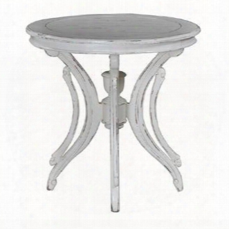 10711 Provence Savoy Lamp Table With Cabriole Legs Round Top And Molding Details In Antique Cream