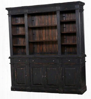 23572 Roosevelt Estate Bookcase With 3 Drawers 4 Doors 8 Shelves And Vintage Black Interior Finish In Black Vintage