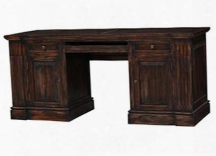 23750 Roosevelt Computer Desk With 2 Drawers 2 Doors Metal Hardware And Distressed Details In Vintage Black