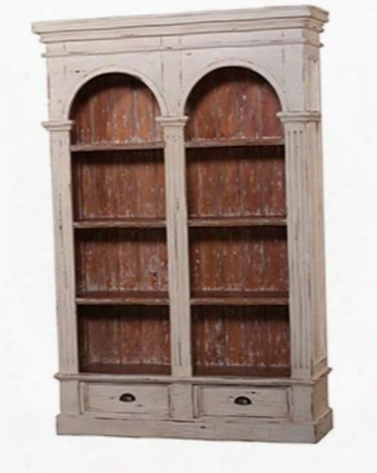 23760 Roosevelt Double Arch Bookcase With Drawer Shelves Metal Hardware Crackel Distressed Detail And Molding Details In Antique Cream