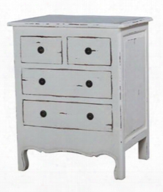 23794 Provence Paris Nightstand With 4 Drawers And Carved Apron In White Distressed