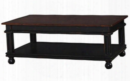 23925 Mary Tudor Havana Coffee Table With Bottom Shelf Ball Feet And Teak Brown Top In Black Distressed