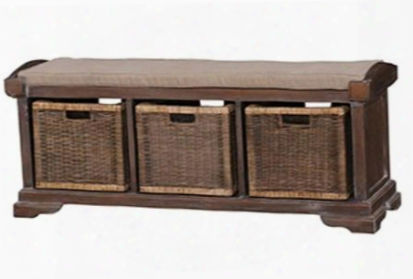 23938 Homestead Bench With Rattan Baskets Bracket Feet And Linen Fabric Top In Cocoa