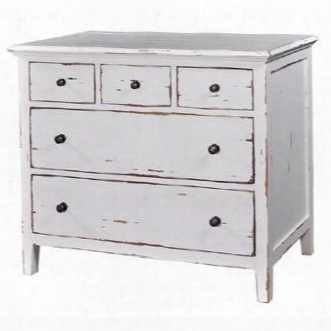 24117 Aries Dresser With 5 Drawers Simple Metal Pulls Tapered Legs And Molding Detail In White Distressed