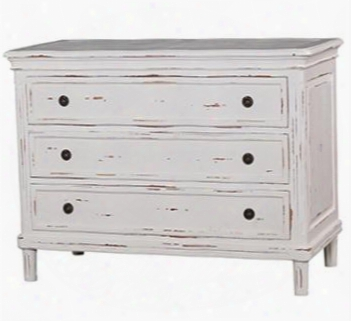 24480 Roosevelt Hayward Dresser With 3 Drawers Simple Metal Hardware And Molding Detail In White Distressed