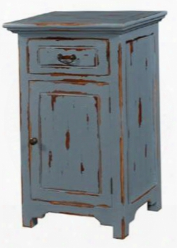 24499 Aries Mac Kenzie Nightstand Table With 1 Drawer 1 Door Bracket Feet And Molding Detail In Federal Blue