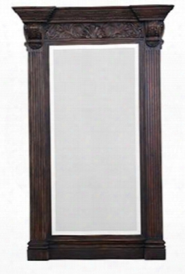 25438 Charleston Standing Mirror With Carved Design And Beveled Edge In Vintage Black