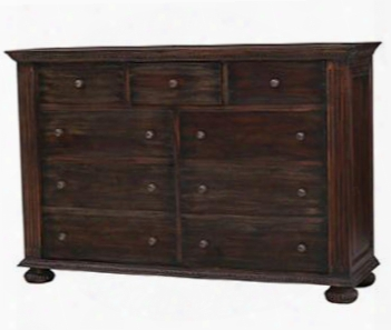 25447 Charleston Dresser With 9 Drawers Bun Feet Metal Hardware And Molding Detail In Vintage Black