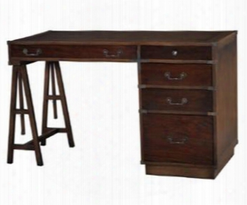 25680 John Hancock Surveyors Desk With 5 Drawers Decorative Metal Hardware Teak Brown Trim And Stretcher In Antique Oak