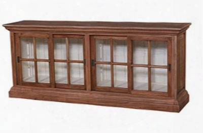 25734 Roosevelt Julia English Plasma Cabinet With Antique Cream Interior And Glass Doors In Drift Wood