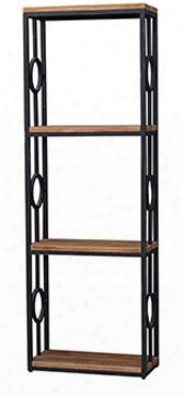 25757 Urban Bookcase With 1 Column 3 Shelves And Drift Wood Top In Mist Blue