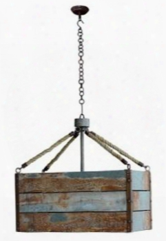 25814 Lighting Farmhouse Chandelier With Wooden Frame And Distressed Detailing In Recycled Tin