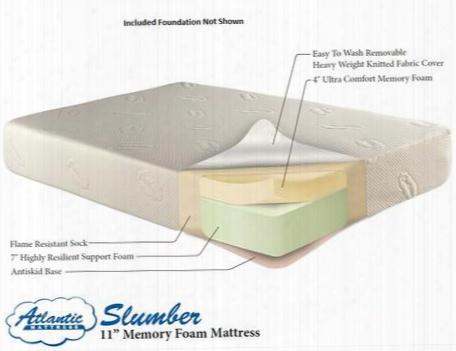 "Am55125 11"" Slumber Memory Foam Mattress And Woven Mattress Foundation King"