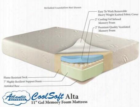 """Am55325 11"""" Coolsoft Alta Memory Foam Gel Mattress And Woven Mattress Foundation King"""