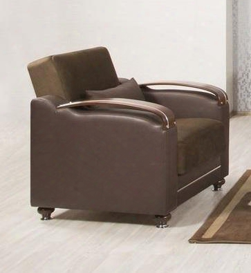 "Divamax Diaacsdc 36"" Convertible Armchair With Storage Under The Seat Bun Feet Curved Arms And Woodlike And Polished Metal Accents: Sarp Dark"