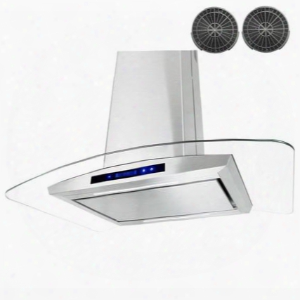 """Gir0536p 36"""" Island Mount Range Hood With 870 Cfm 65 Db Innovative Touch Led Lighting 3 Fan Speed Aluminum Grease Filter And Ductless: Stainless"""